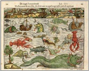 Mostri marini & terrestri, che si trouano in ogni luogo nelle parti d' aquilone [Munster's Famous Chart of Sea Monsters] Sebastian Münster (1489 - 1552)