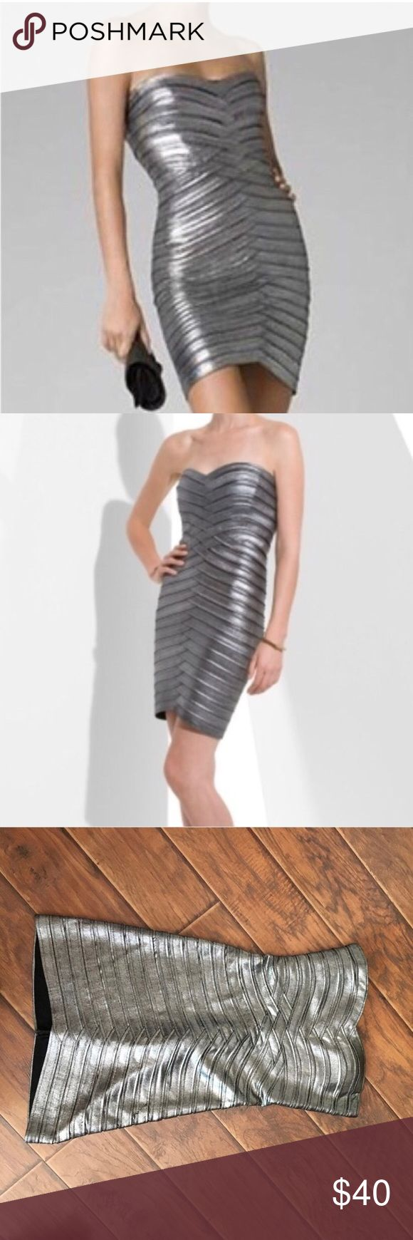 BCBG Silver Bodycon Dress Only worn once! It is extremely flattering because the material is so thick. BCBG Dresses Mini