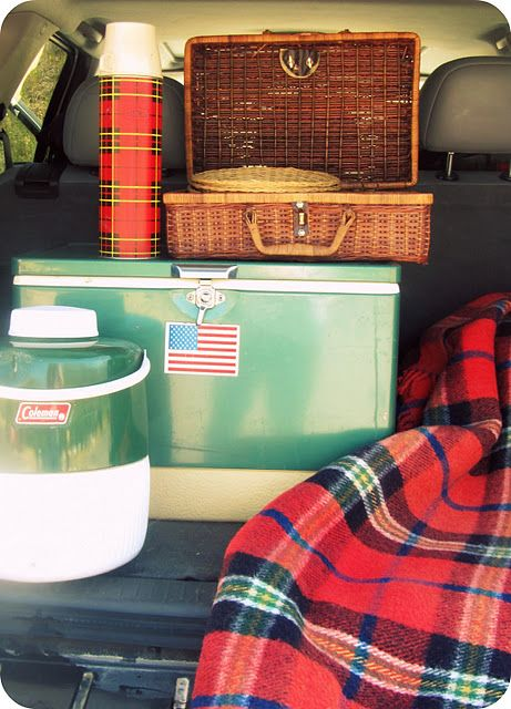 Of course we had red tartan Thermos, for road trips. Wool plaid blanket in the car at all times & still do. ( We had that Coleman cooler too)  ALady Plaid picnic