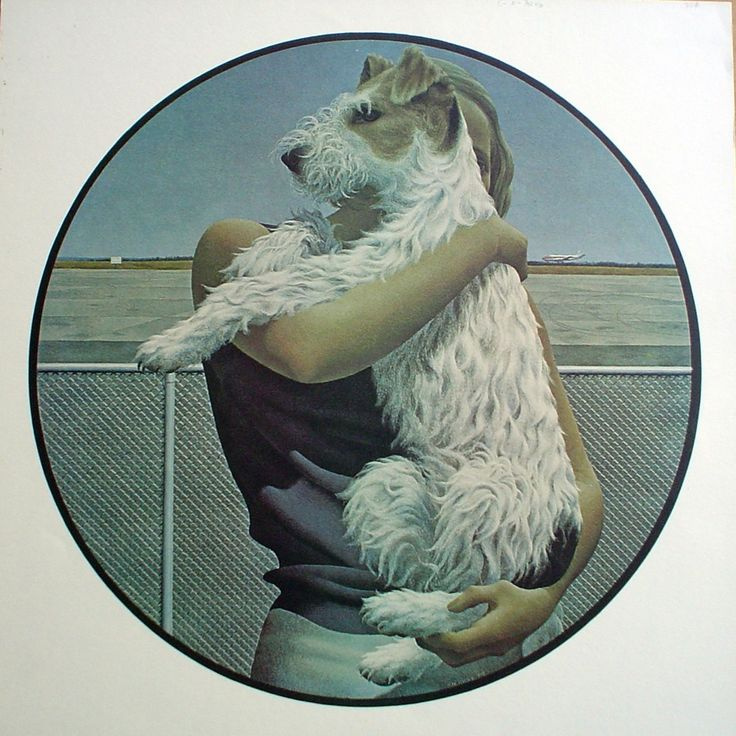 """Woman and Terrier"" (1963) by Alex Colville (Canadian) via Kerrisdale Gallery."