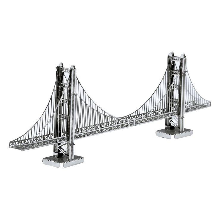 Metal Earth 3D Laser Cut Model Golden Gate Bridge Kit by Fascinations, Multicolor