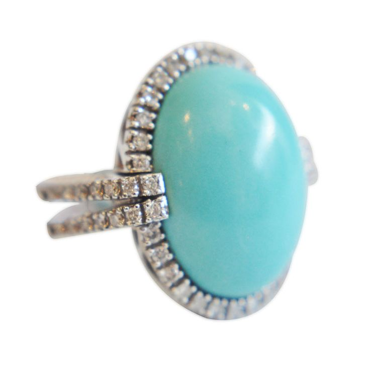 ELEGANT PERSIAN TURQUOISE, DIAMONDS, 18K WHITE GOLD RING ITALY c.1970s Sophisticated cabochon Persian turquoise ring with diamonds. The color is subtle and rare in such a large stone. Approximately .70 carat total weight diamonds. $3,200
