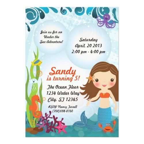Under The Sea Mermaid Invitation   Brown