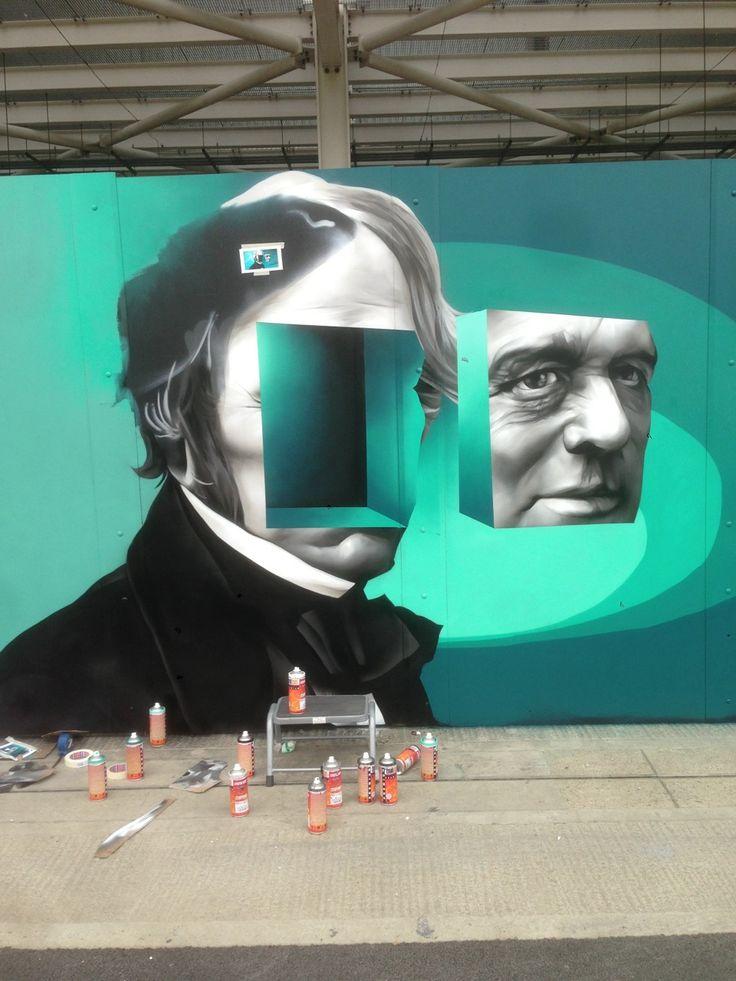 Mural in progress in Hackney Wick  UK    Sept 2014