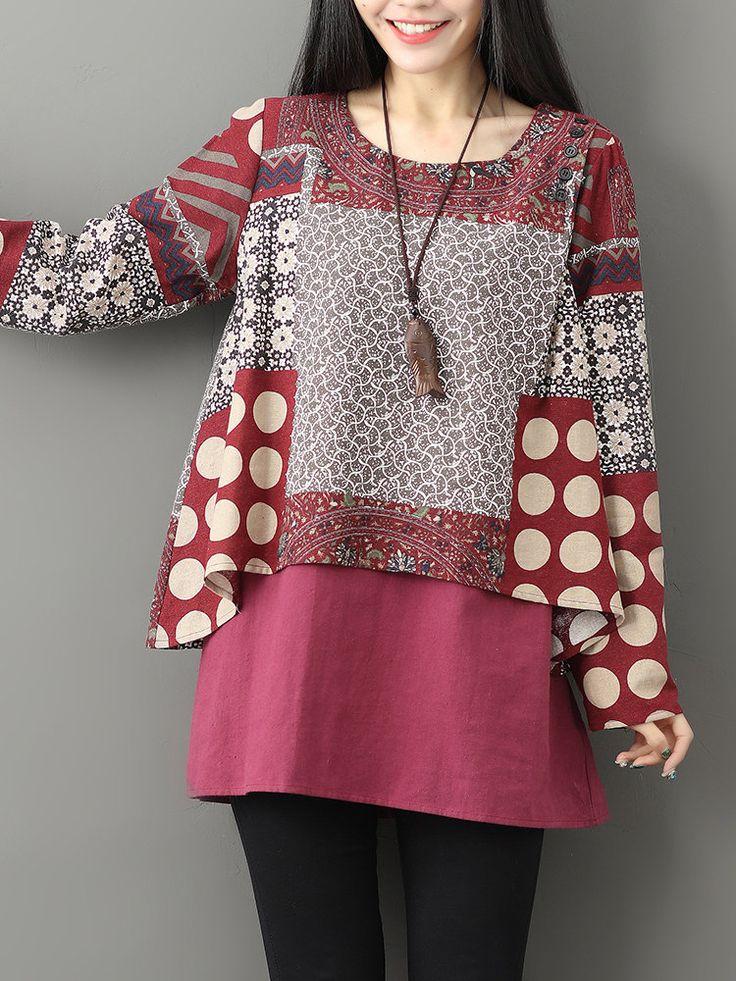 Gracila Casual Printed Two-Layer O-Neck Women Blouses  fashion
