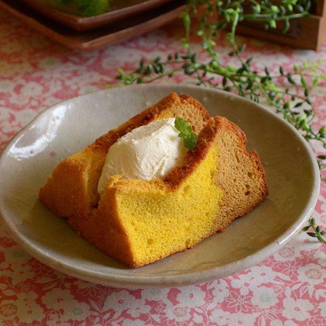 軽くふんわりとした食感のシフォンケーキ♡実は簡単にフライパンで焼くことが出来ちゃうんです!