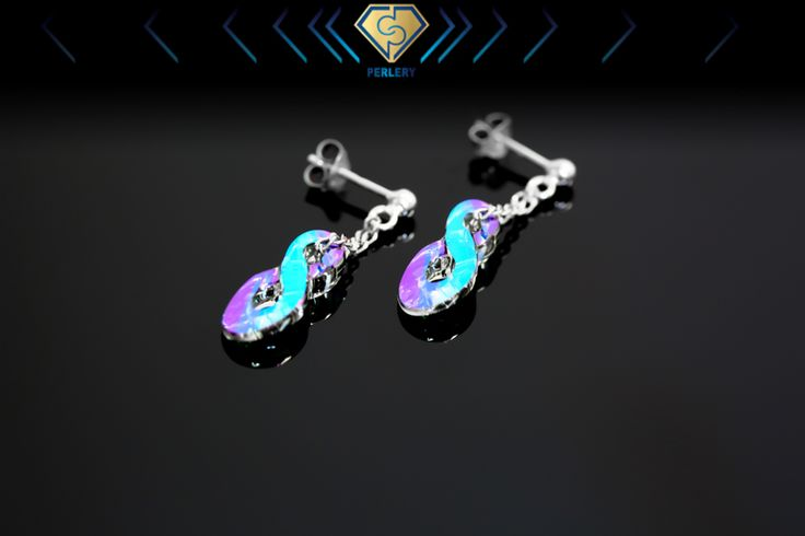 Swarovski infinity earrings in oaradise shine color.