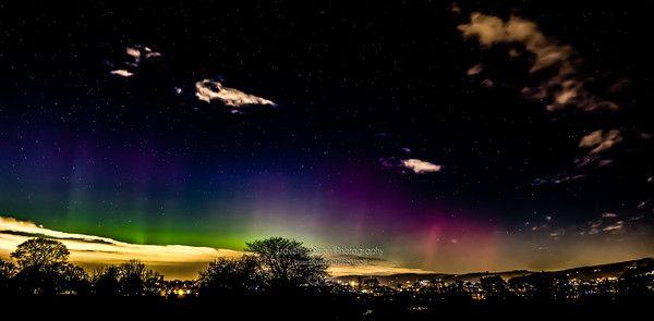Aurora Borealis Over Macclesfield Stitched Panorama