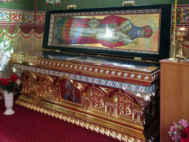 Gavril Banulescu-Bodoni (1746-1821) rests in an open coffin at Capriana Monastery, Moldova. Gavril served as Metropolitan of Chisinau from 1812 to 1821 and was the first head of the church in Bessarabia after the Russian annexation.