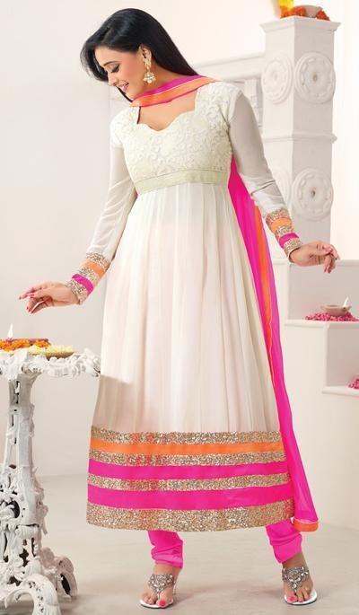 G3 Fashions Shweta Tiwari cream pink georgette designer salwar suit  Product Code : G3-LSA106564 Price : INR RS 4574