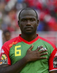 Djakaridja Kone of Burkina Faso during the 2015 Africa Cup of Nations football match between Equatorial Guinea and Burkina Faso at the Bata Stadium in Bata, Equatorial Guinea on 21 January 2015 ©Barry Aldworth/BackpagePix