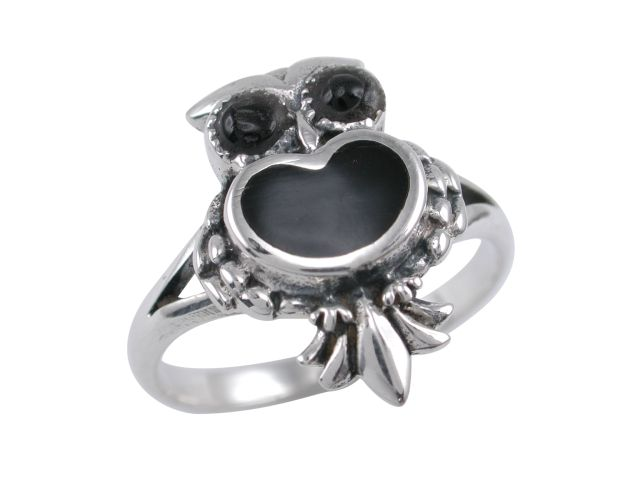 Sterling Silver 17mm Onyx Owl Ring (mixed Finger Sizes)