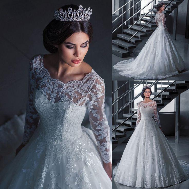 >> Click to Buy << Elegant Vestido De Novia Vintage White Ball Gown Wedding Dress with Sleeves Robe De Mariage Princesse Brial Gown 2016 #Affiliate