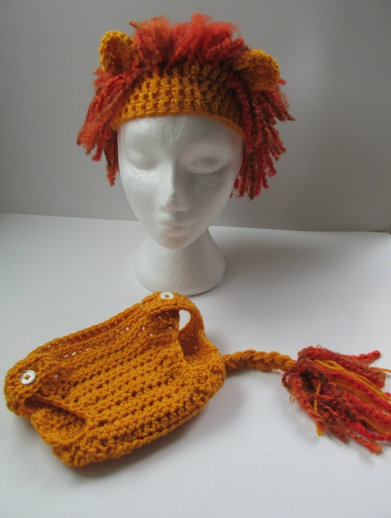 Crocheted lion diaper cover and hat set by HookdCustomCrochet, $24.95
