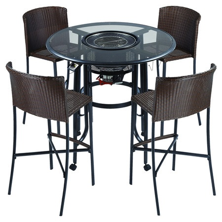 Bar set with center grill and four woven chairs. Product ...
