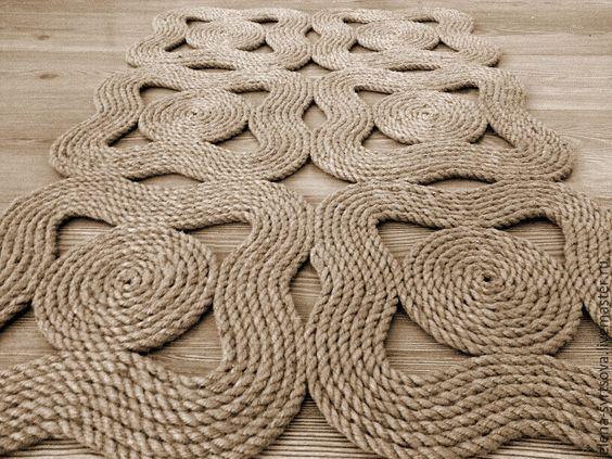 """Коврик """"Волны"""" - бежевый, ковер ручной работы, коврик из веревки, коврик из джута:"""