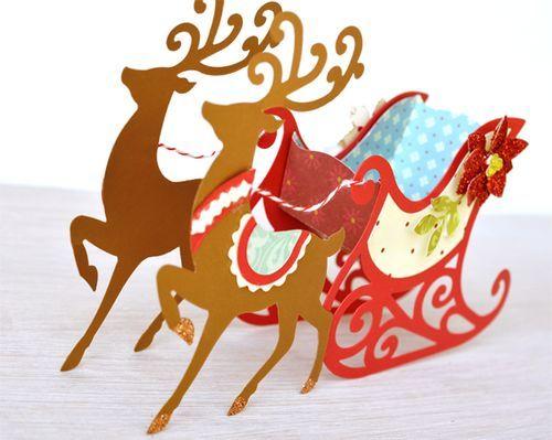 Brenda Walton Sleigh and Reindeer dies for Sizzix