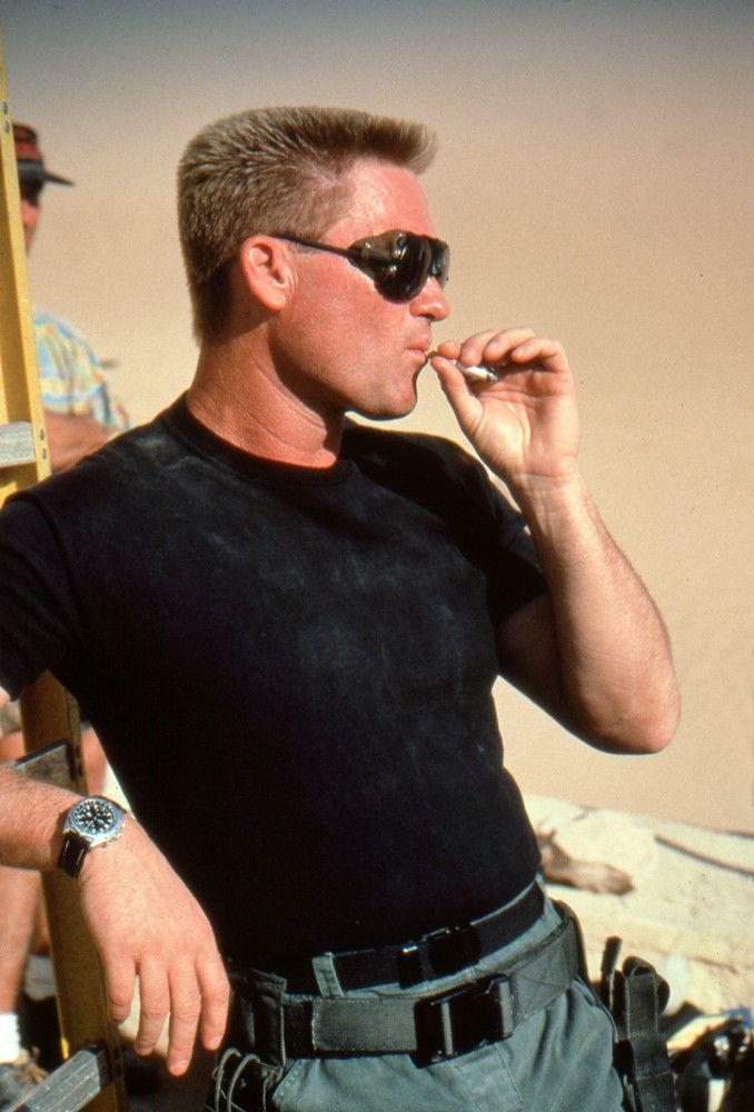 Kurt Russell taking a smoke break on the set of Stargate