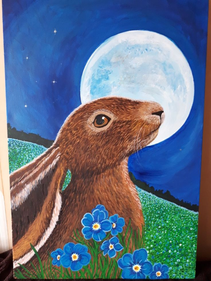 This is acrylic painting of a hare. Took 15hrs to paint.