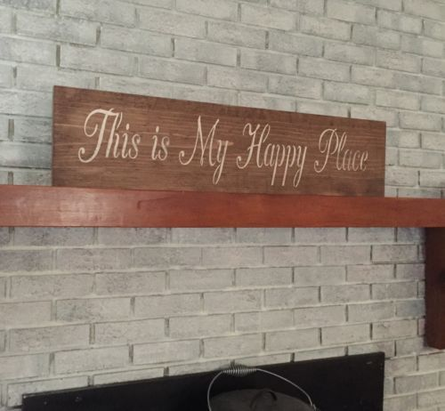 """Large Rustic Wood Sign - """"This is my Happy Place"""" - 3 Feet Long!!!!"""