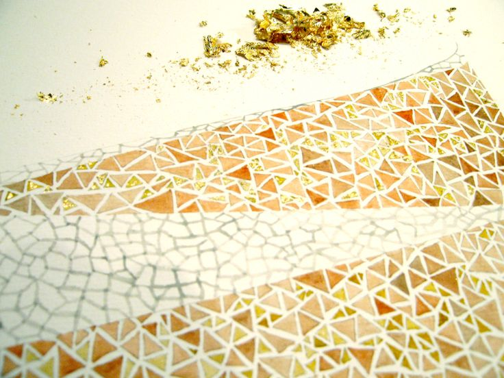 Water colour and gold leaf #texture #design