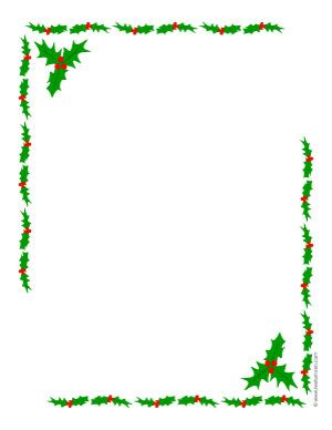 Printable Christmas Border Writing Paper | ... open a new page to print a holly borders Christmas letter paper sheet