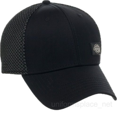 Dickies Hats Mens Performance System Fitted Black Nylon Mesh Flex Baseball  Cap d95a8c2f901a