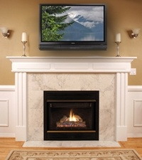 someday i would love to have a huge tv and a fireplace