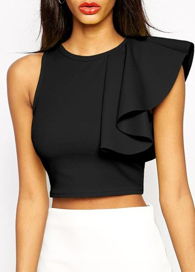 Flare Sleeve Solid Black Round Neck Crop Blouse