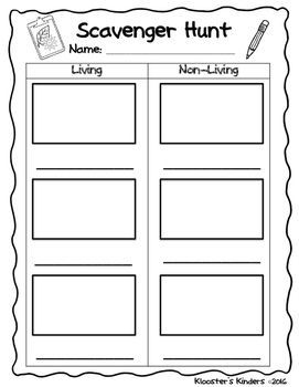 Use this sheet with your students when learning how to decipher between living and nonliving things. Students can draw a picture and write the word for each item that they find. I gave my students clipboards and we worked outside to complete this task, but you could complete it inside the classroom as well.