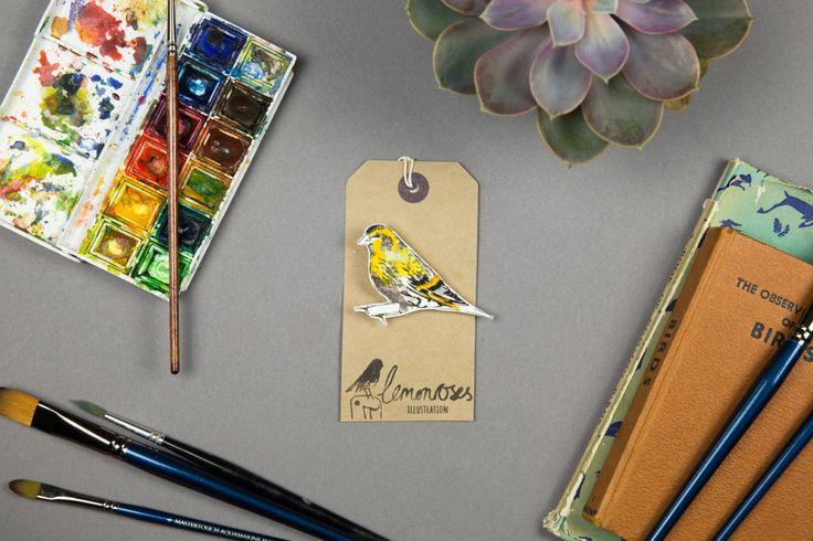 Handmade siskin illustration bird brooch by lemonroses on Etsy