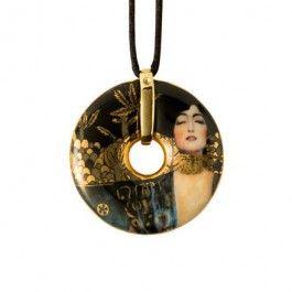 "Goebel - Artis Orbis - Gustav Klimt - Judith I - Necklace - Necklace with porcelain amulet showing ""Judith"" by Gustav Klimt. Anti-allergic metal components, nickel free, gold coated. Textile cord with fastening - 58 cm. Diameter: 4.5 cm."