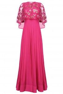 Hot Pink Anarkali Set With Hand Embroidered Asymmetric Cape