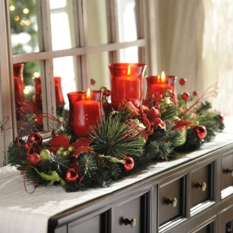 Christmas Floral Candle Centerpiece #kirklands #seasonaldecor