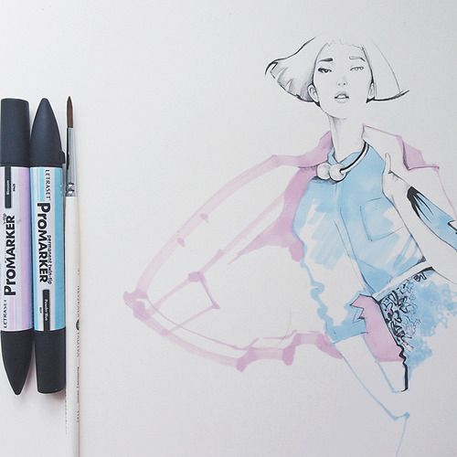 This fashion illustration was inspired by beautiful Chinese model Ju Xiaowen.