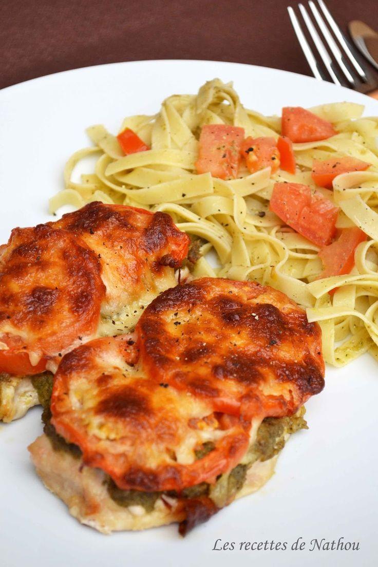 Les recettes de Nathou: Escalopes de poulet gratinées au pesto, tomates et mozzarella
