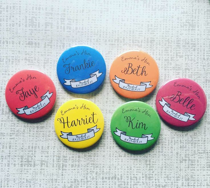 A personal favourite from my Etsy shop https://www.etsy.com/uk/listing/517146707/personalised-badges-for-hen-party-hen