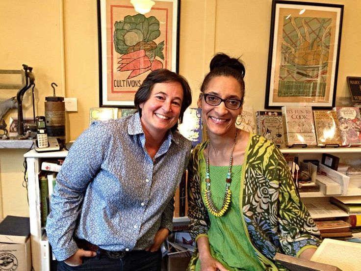 "Hall Swings by Omnivore Books. Celebrity chef Carla Hall (r.), co-host of ""The Chew"" and author of ""Carla's Comfort Foods,"" at Omnivore Books in San Francisco, Calif. with owner Celia Sack after Hall's book signing on Thursday, April 10.  Photo Credit: Matthew Lyons"