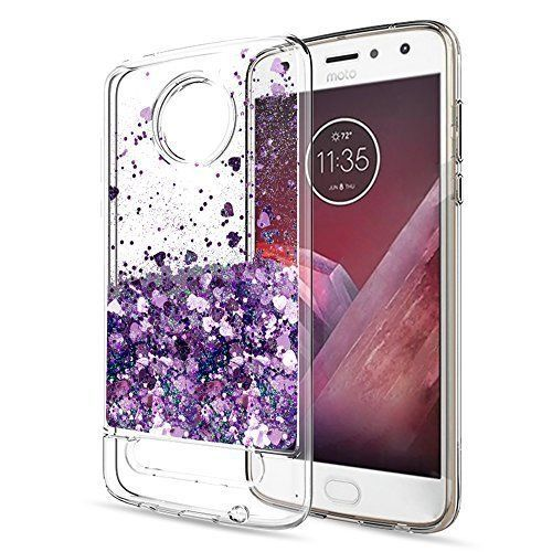 Moto Z2 Play Case With Screen Protector Glitter Clear TPU Protective Phone Cover #MotoZ2PlayCase