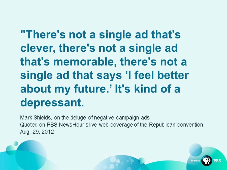 Mark Shields and David Brooks took questions from viewers during a live Google Hangout - and the subject of negative ads came up.