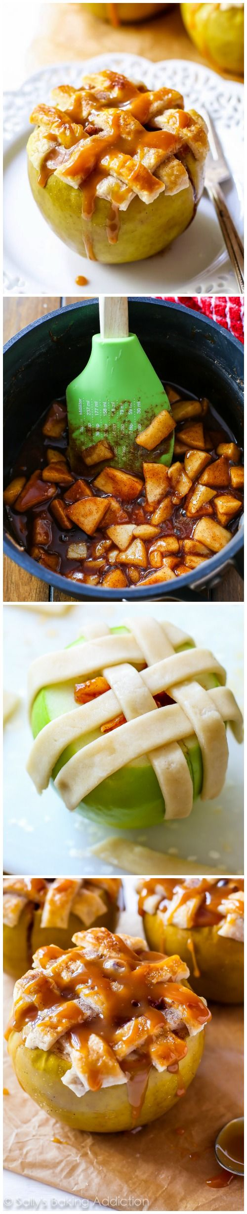Everything you love about apple pie – the gooey cinnamon filling, the warm apples, the buttery homemade pie crust – all baked inside an apple!!