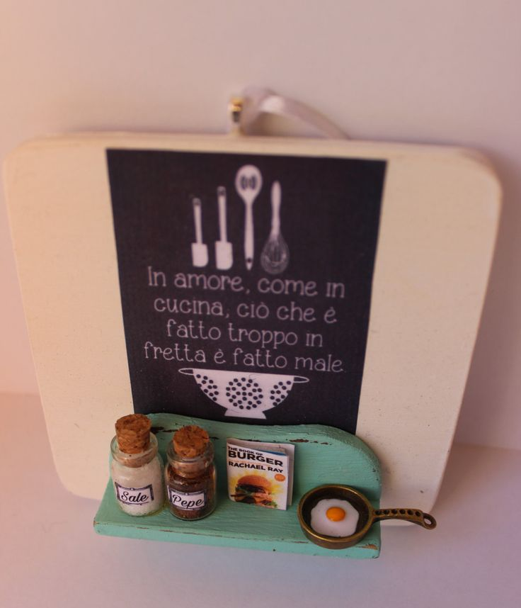 Vintage kitchen handmade door hanger wood sign with clay eggs,pan,recipes book, salt and pepper - Wall decor - kitchen quotes by ManthaCreaMiniatures on Etsy