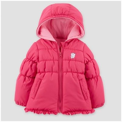 This hot pink puffer coat from Just One You™ Made by Carter's® brings comfort with the fleece lining, hood and fitted cuffs, while the ruffle trim and owl patch add a sweet spark.