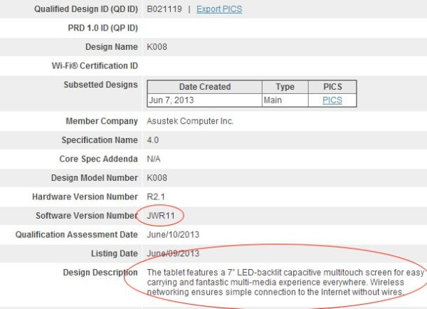 Enigmatic Asus K008 tablet spotted at Bluetooth SIG with Android 4.3 Jelly Bean - http://vr-zone.com/articles/enigmatic-asus-k008-tablet-spotted-at-bluetooth-sig-with-android-4-3-jelly-bean/36611.html