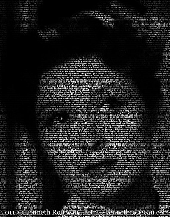 Greer Garson  11x14 Typographical Portrait Fine Art Greer Garson  typographical portrait  by Kenneth Rougeau    This text portrait of film star Greer Garson (Mrs. Miniver, Goodbye, Mr. Chips) was created using the celebrated actress' own quotes. This image is part of the upcoming TypeFace: Tinsel Town collection of text based portraiture.