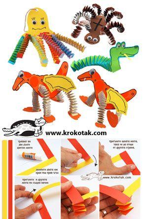 Folded Paper Strip ANIMALS animaux articulés avec bande de papier
