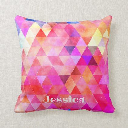 Modern and Girly Geometric Triangle Pattern Throw Pillow
