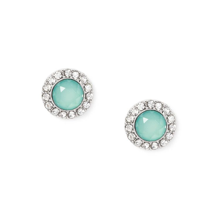 Earrings from Icing...shiny turquoise stone with circle of bling surrounding it