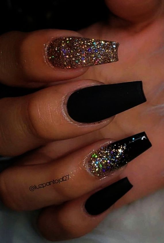Coffin Black And Gold Marble Nails
