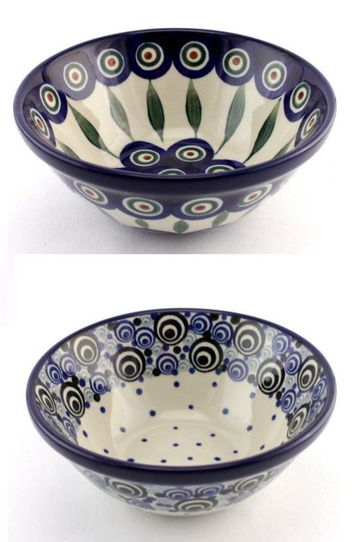 """This is what happens when the traditional """"peacock eye"""" pattern gets modern look! The decor on the top is one of the most traditional designs of Polish Pottery, the other one is one of the newest designs and it celebrates the tradition in a modern way! http://slavicapottery.com"""